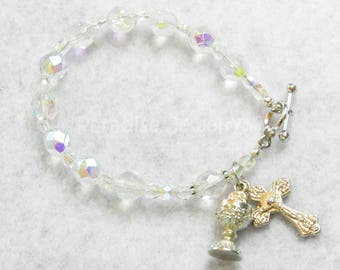 Rosary Bracelet, First Holy Communion, Catholic Jewelry Crucifix Chalice Charm Glass Bead Bracelet Catholic Kids Jewelry First Communion