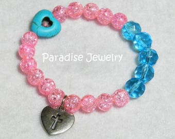 Heart Cross Charm Bracelet, Christian Jewelry, Stretch Bracelet, Glass Bead Bracelet Pink and Blue, Gift For Her, Wear Your Faith
