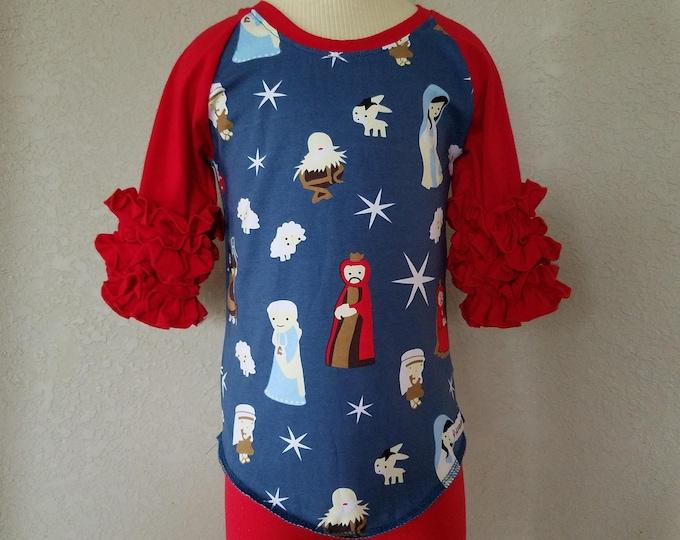 Featured listing image: Little Girls Christmas Nativity Print Cotton Raglan Top, Ruffle Sleeve, Baby Jesus Ruffle Top