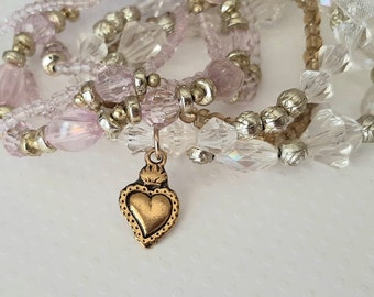 Catholic Bracelet Gold Sacred Heart Charm Stack Bracelets Set Stackable Bracelets