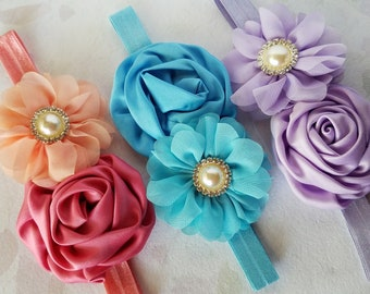 Little Girls Headband Double Flower Hair Bow, Elastic Headband, Choose Your Color, Baby Girls Party Headband Baby Hairband