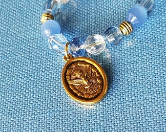 Holy Family, Holy Spirit Medal Catholic Bracelet Blue Crystal Bracelet Confirmation Sacrament Gift