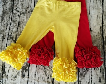 Ruffle Capris Girls Clothing Red, Yellow, Little Girls Ruffle Toddler Icing Capris Layering Pants Ruffle Leggings Toddler Capri Pants