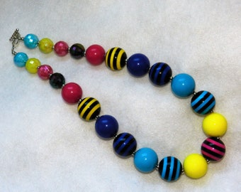 Chunky Bubblegum Bead Necklace Fall Colors Black Stripe Little Girls Necklace Chunky Bead For Baby, Toddler Chunky Necklace