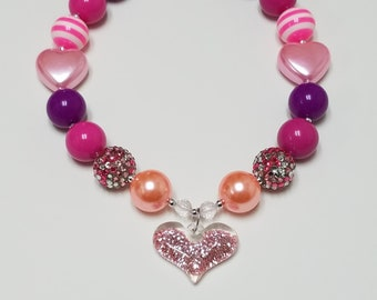 Little Girls Glitter Valentines Day Heart Pendant Chunky Bead Necklace, Bubblegum Bead, Heart Beads Jewelry, Toddler Necklace