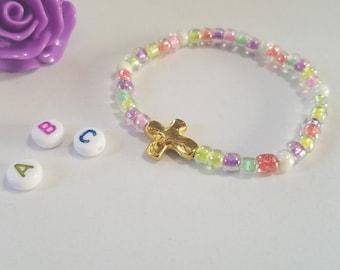 Little Girls Gold Cross Bracelet, Big Girl, Toddler Jewelry Keepsake Gift