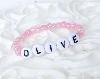 Baby Girl Bracelet, Personalized Newborn Retro Style Pink Baby ID Bracelet Baby Jewelry 1st Photos Vintage Inspired Beaded Baby ID Bracelet