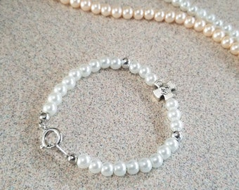 Baptism Gift, Baby Toddler Catholic Bracelet Silver Cross, Baby Jewelry Keepsake Gift