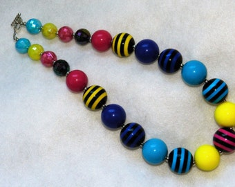 Chunky Bubblegum Bead Necklace Bright Colors Black Stripe Little Girls Necklace Toddler Chunky Necklace