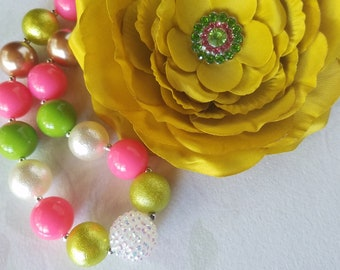 Chunky Bubblegum Bead Necklace Set, Baby Girl headband Flower Accessories Set, Pink and Green, Peony Flower Baby Photo Prop