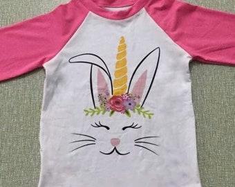 Little Girls Easter Top, Unicorn Bunny Raglan Shirt, Girls Tee, Boutique Clothing Ruffle Raglan