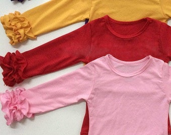 Girls Fall Icing Ruffle Shirt, Toddler Boutique Little Girls Long Sleeve Triple Ruffle Layering Top, Soft Cotton Yellow, Red