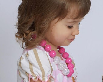 Chunky Bubblegum Bead Necklace, Hot Pink Toddler Necklace, Chunky Necklace, Pink Beads