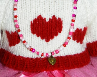 Valentine Doll Jewelry 18 inch American Doll Long Heart Necklace American Girl Heart Charm Red White Pink Doll Necklace