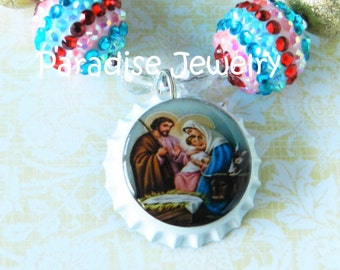Holy Family Nativity Bottle Cap Necklace, Pink, Blue, Gold, Bubblegum Beads, Chunky Bead Necklace, Christmas Eve Toddler Necklace