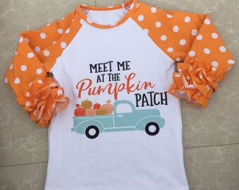 Fall Pumpkin Patch Outfit Toddler ~Pre-order~ Little Girls Dress, Boys or Girls Raglan Orange Mint Kids Clothing