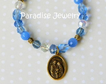 Holy Spirit, Holy Family Medal Catholic Bracelet Crystal Glass Bead Blue Bracelet Mother's Day Confirmation Sacrament Gift Dove Charm