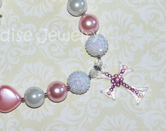 Chunky Bead Rhinestone Cross Princess Necklace, Girls Pink And White Pearl Heart Bubblegum Necklace, Birthday Photos, Baptism Gift