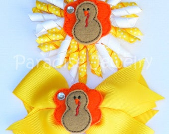 Thanksgiving Bow, Turkey Felties Hair Bow, Sister Bows, Alligator Clip, Choose Your Style, Korker Curly, 4 Inch Bow