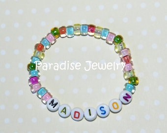 Personalized Kids ID Bracelet Personalized Gift, Multi Color, Pink ID Bracelet, Glass Bead Child Size Jewelry Letter Bracelet Medical Alert