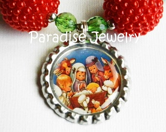 Christmas Nativity Bottle Cap Necklace, Bubblegum Chunky Beads Girls Christmas Necklace, Holly Babes Christmas Outfit