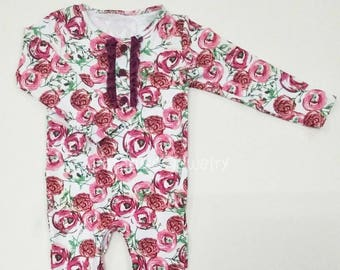 Girls Romper Long Sleeve Cotton Sweet Rose Print Therese Baby Girls One-peice Girls Ruffle Romper Special Needs Clothing