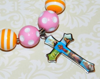 Girls Chunky Necklace Catholic Image Cross Pendant Girls Rainbow Bubblegum Bead Girls Gift Kids Basket Stuffer