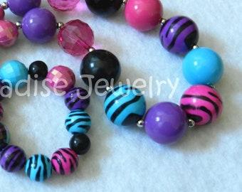 Toddler Jewelry Chunky Necklace, Animal Print Bubblegum Bead Set, Just For Fun Photo Prop, Purple Pink Aqua