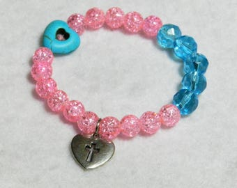 Heart Cross Charm Stretch Bracelet, Christian Jewelry, Pink and Blue Glass Bead, Gift For Her