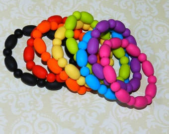 Chew Beads Teething Bracelet for Mommy and Baby Food-Grade Silicone Bracelet for Teething