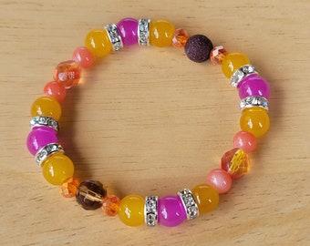 Fall Aromatherapy Diffuser Bracelet, Essential Oils Bracelet, Lava Stone Healing Bracelet, Glass Bead Stretch Bracelet