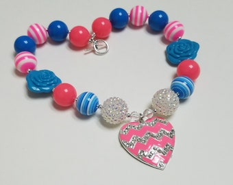 Valentines Necklace Bubblegum Bead Chevron Heart Rhinestone Pendant Valentines Gift For Toddler, Little Girls