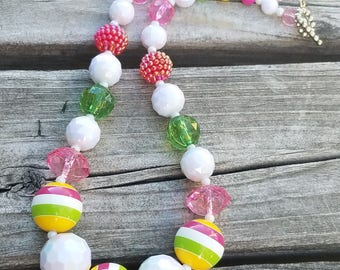 Chunky Necklace Bright Color Yellow, Green, Raspberry, Bubblegum Beads Toddler Necklace Chunky Bead Baby, Child, Photo Prop