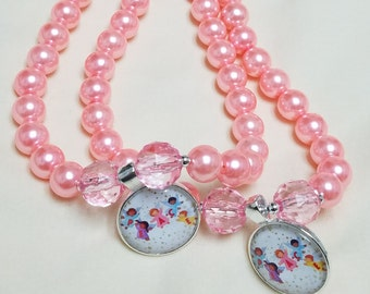 Little Girls Pink Beaded Necklace, Peace Angels Pendant
