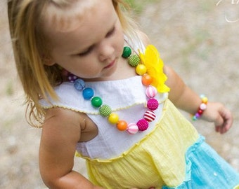 Rainbow Chunky Bubblegum Bead Necklace Bracelet Set Toddler Necklace Rainbow Necklace Little Girl Jewelry Rainbow Birthday Jewelry