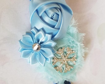 Ice Queen Elsa Frozen Headband Girls Accessory Snowflake Elastic Hairband Elsa Costume Snowflake Bow