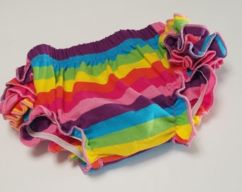 Rainbow Baby Ruffle Bottom Bloomer, Pre-order Diaper Cover, Baby Rainbow Ruffle Pants Newborn Size, Photo Prop, Baby Pictures