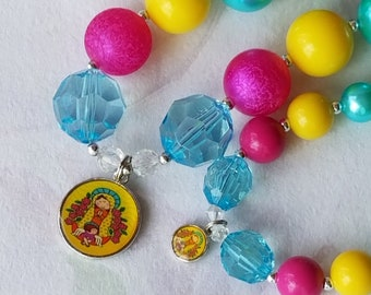 Doll and Me Jewelry Virgencita Chunky Bead Necklace American Doll Accessory Mother Mary Pendant 18 in Doll Size and Girls Necklace