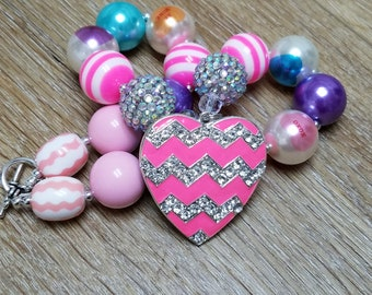 Valentines Necklace Bubblegum Beads Conversation Heart Chevron Heart Rhinestone Pendant Valentines Gift For Toddler, Little Girls