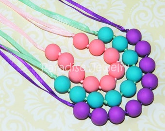 Nursing Necklace Fidget Chew Beads, Teething Beads, Silicone Teether Soother Necklace