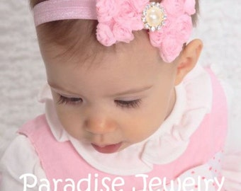Shabby Chic Rosette Bow Headband, Choose Your Color, Fancy Floral Bow On Elastic Pearl Rhinestone Center Baby Girl Party Outfit