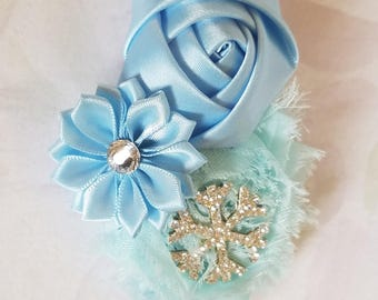 Princess Frozen Snowflake Headband Chiffon Shabby Chic Flower Bow Hairband On Elastic Headband Girls Accessory Snowflake Bow
