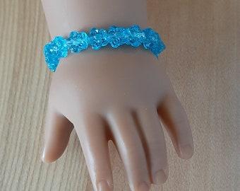18 Inch Doll Blue Flower Bracelet, American Girl Doll Jewelry