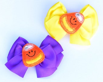 Girls Fall Hair Bows, Little Girls Candy Corn Feltie Hair Bow Harvest Party, Halloween Hair Clip Choose Your Color