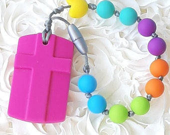 Babies First Rosary Chewable Silicone Sensory Beads, Baby, Toddlers and Autism Chew Beads, Teething Toy