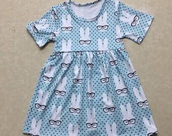 Pre-order - Smarty Bunny Rabbit Dress Toddler, Little Girls Dress, Soft Cotton Clothing