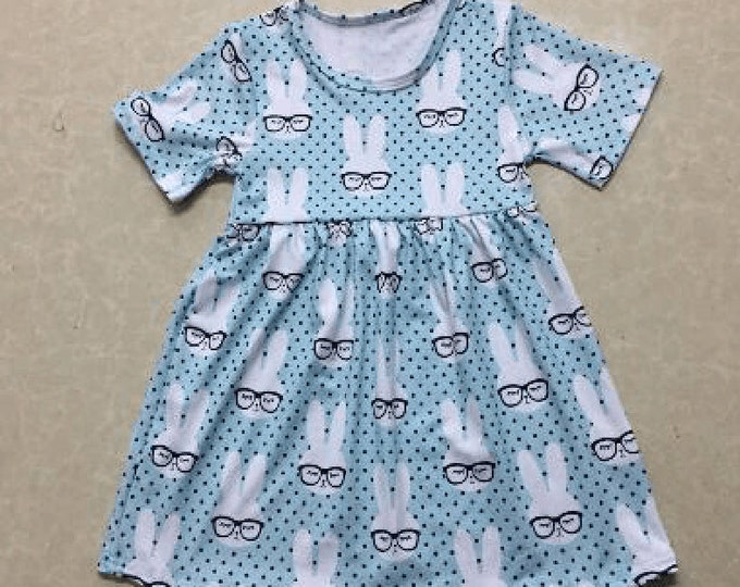 Featured listing image: Pre-order - Smarty Bunny Rabbit Dress Toddler, Little Girls Dress, Soft Cotton Clothing
