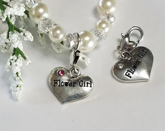 Flower Girl Gift, Flower Girl Heart Charm Bracelet Wedding Party Gift Keepsake  Glass Pearl Bracelet