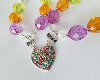 Best Friends BFF Kids Matching Necklace Set Rhinestone Heart Pendant, Chunky Necklace For Little Girls, Twin Sisters Necklace Gift Set
