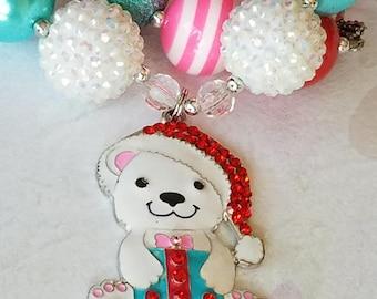 Chunky Bead Little Girls Pink Christmas Gift Bear Necklace, Rhinestone Pendant, Bubblegum Beads, Special Occasion Christmas Bear, Santa Hat